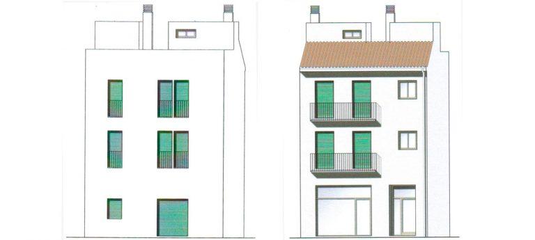 Edificio de dos viviendas y local comercial